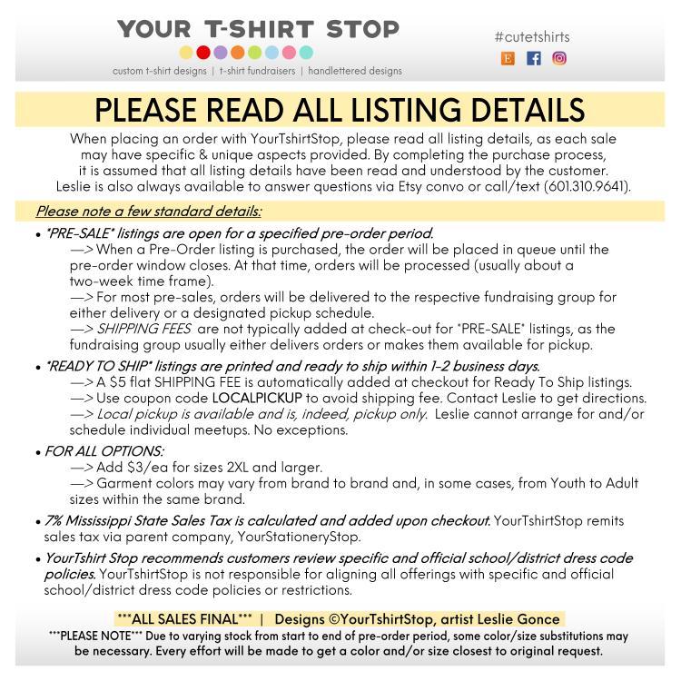 YTS YourTshirtStop ETSY LISTING DETAILS